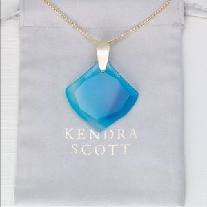 Kendra Scott Aislinn Gold Necklace In Teal Agate